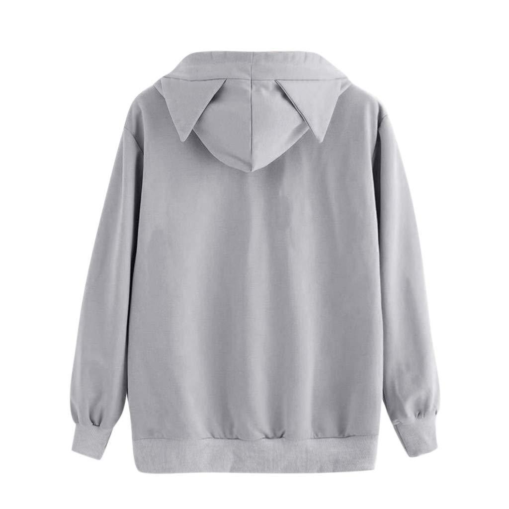 Laimeng/_World Women Long Sleeve Casual Cat Ear Hooded Sweatshirt Pullover Tops Blouse M//L//XL//XXL