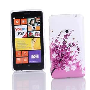Kit Me Out ES ® Funda de gel TPU + Cargador para coche + Protector de pantalla con gamuza de microfibra para Nokia Lumia 625 - Blanco / Rosa Flores