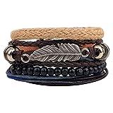 Hsumonre Multi-layer Leather Bracelet Vintage Bohemian Wood Waxed Cord Bangle Beaded Wristbands Cuff Bracelet For Men Women (Color 2)