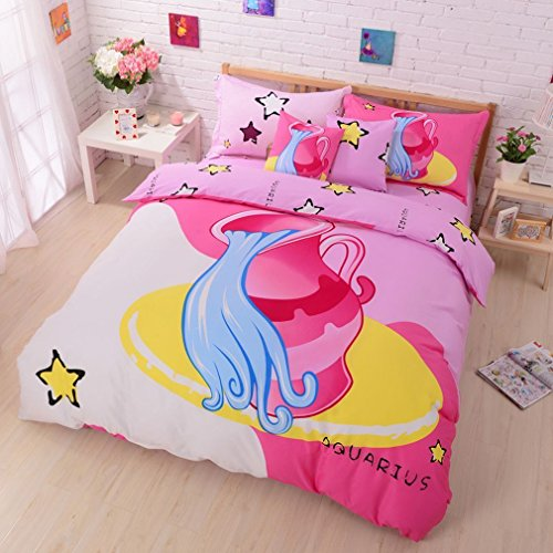 SAYM Home Bedding Sets,Lovely Style Twelve constellation Printed Comforters and Bedding Sets,The Zodiac Duvet Covers,King Size(1 Duvet Cover, 1 Bed Fitted Sheet, 2 Pillow Cases) Aquarius