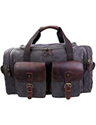 Weekender Bag Canvas Travel Bag Genuine Leather Trim Duffel Bag For Men and Women