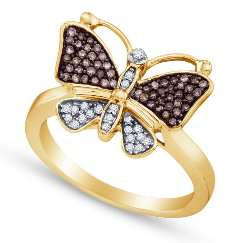 10K Yellow and White Two 2 Tone Gold Channel Set Butterfly Round Cut Chocolate Brown and White Diamond Ladies Womens Fashion, Wedding Ring OR Anniversary Band (1/5 cttw.)