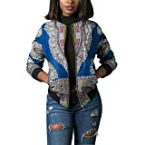 Women's Casual African Print Zipper Dashiki Short Bomber Jacket Coat With Pockets Blue XL