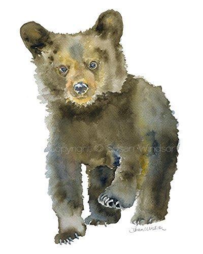 Black Bear Cub Watercolor Print