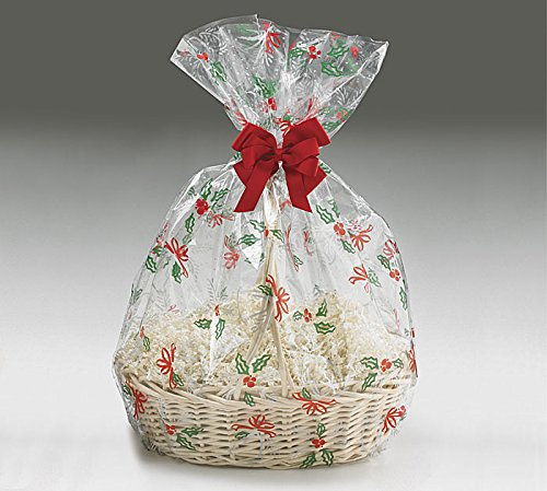 A1BS Clear Cello Cellophane Bags Gift Basket Package Flat Gift Bags 5 Pack (24 In X 30 In Christmas Bells Bows)
