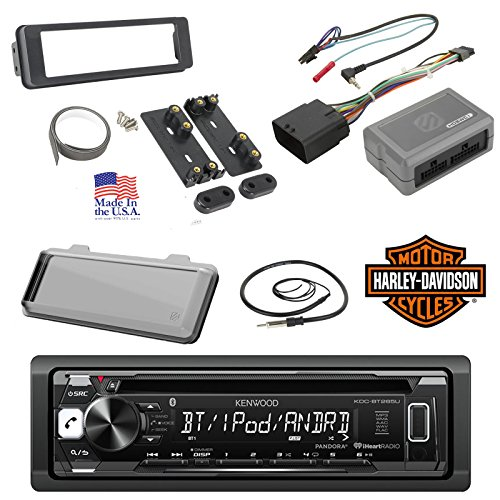 98-2013 Kenwood Harley Touring Install Adapter Dash Kit FLHT FLHTC FLHX CD MP3 AM/FM Radio Stereo With Bluetooth Streming Music With Steering Wheel Thumb Control Interface Enrock Antenna + Cover