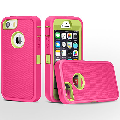 iPhone 5 Case, FOGEEK Heavy Duty PC and TPU Combo Protective Defender Body Armor Case Compatible for iPhone 5 & iPhone 5S(not Support Fingerprint Function)(Rose/Green)