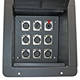 Pro Audio Recess Stage Floor Box Black (6-XLR Female + 1-XLR Male + 1 1/4'' TRS + 1 CAT5 Ethernet)