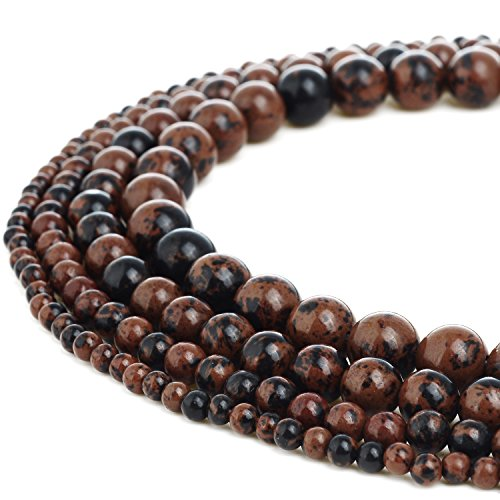 RUBYCA Natural Mahogany Obsidian Gemstone Round Loose Beads for DIY Jewelry Making 1 Strand – 8mm