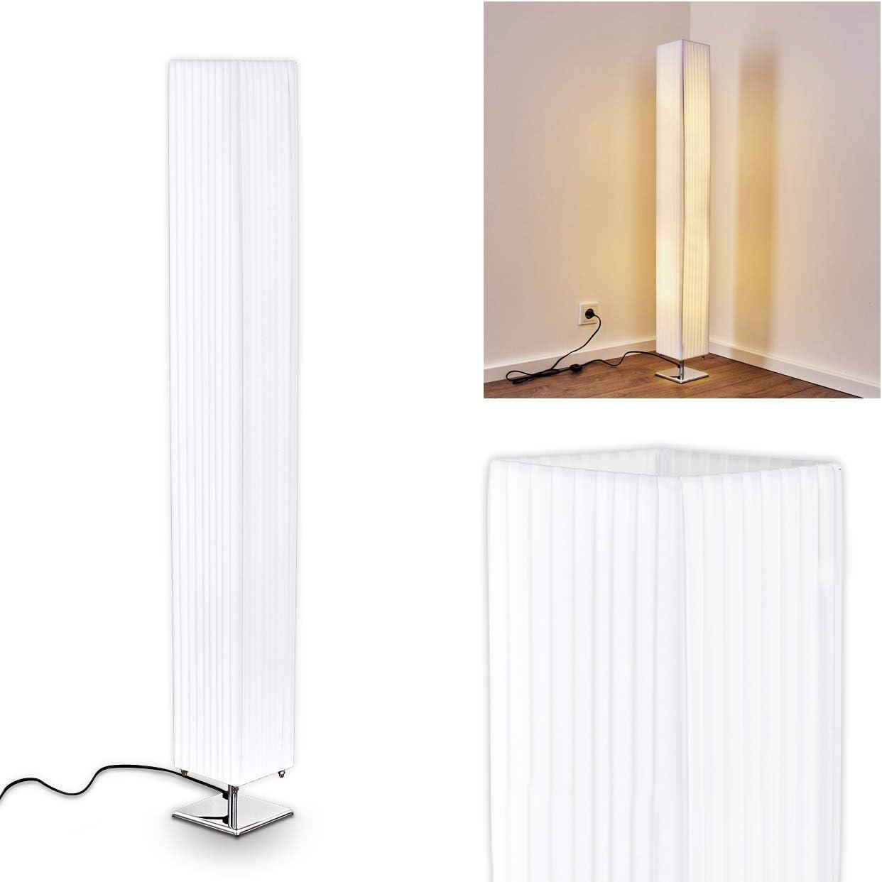 Lámpara de pie Newtok en tejido blanco para dormitorio, salón ...