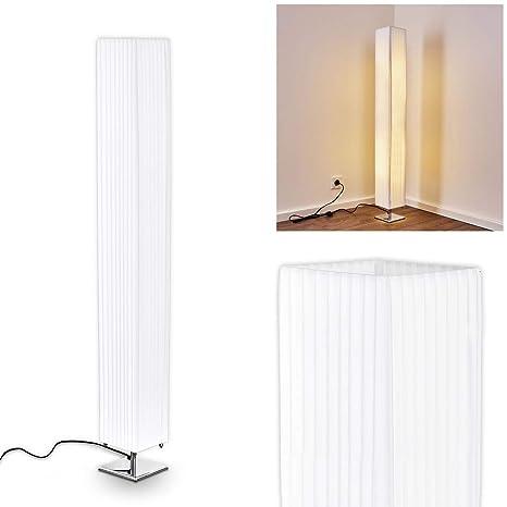 Lámpara de pie Newtok en tejido blanco para dormitorio, salón, comedor - lcon pantalla alargada y cable de encendido