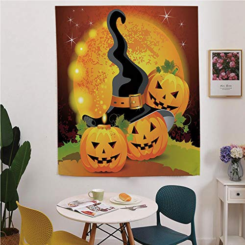 Halloween Blackout Window curtain,Free Punching Magic Stickers Curtain,Witches