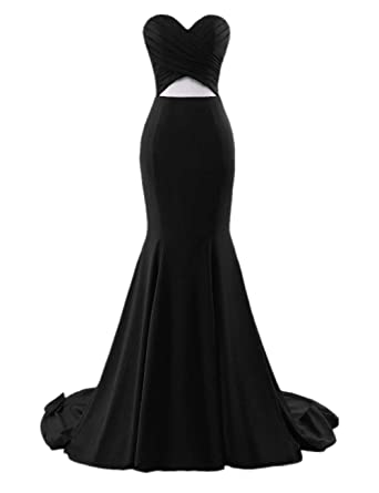 Promworld Womens Sweetheart Long Evening Gowns Mermaid Prom Dresses Black US2