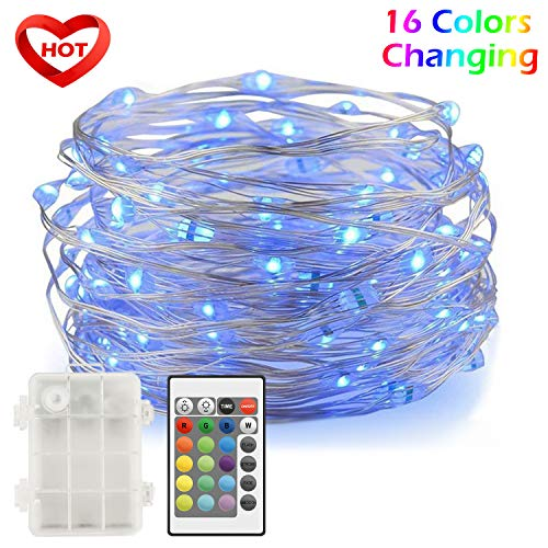Ylife Fairy Lights Battery Operated, 16.4 Ft 50 LED Waterproof Warm White Multi String Lights with Remote, Decorative Copper Wire Light for Festival Party (16 Colors) (Lighting Ideas String)