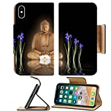Luxlady Premium Apple iPhone X Flip Pu Leather Wallet Case Zen abstract of a buddha with glowing aura a white lotus lily and blue iris flowers with reflection over rippled water Over black