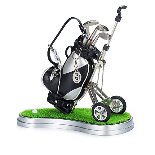 Mini-desktop-golf-bag-pen-holder-with-lawn-base-and-golf-pens-5-piece-set-of-golf-souvenir-Tour-souvenir-novelty-gift-silver-and-black