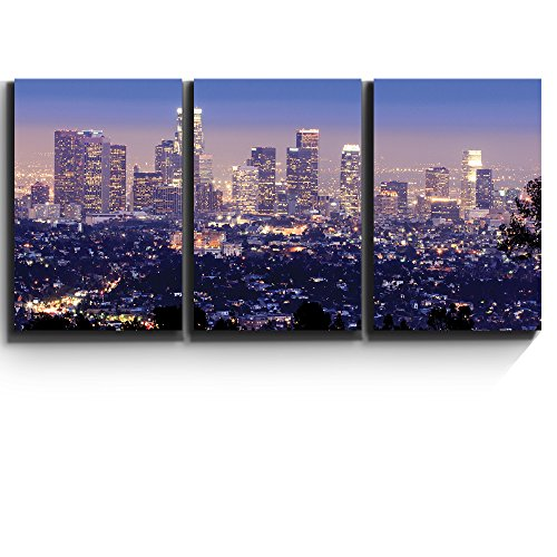 Wall26 3 Piece Canvas Print - Contemporary Art, Modern Wall Decor - Los Angeles skyline in evening - Giclee Artwork - Gallery Wrapped Wood Stretcher Bars - Ready to Hang- Wall26 - 24