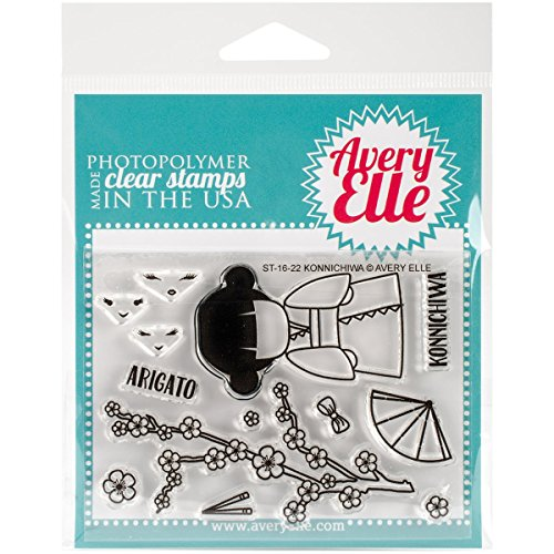 Avery Elle ST-16-22 Clear Stamp Konnichiwa, None