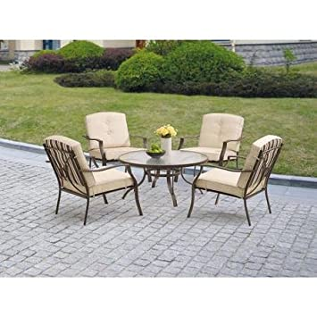 Mainstays Ashwood Heights 5 Piece Outdoor Chat Set, Tan