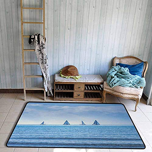 Bathroom Rug Bath Rug Nautical Racing Yachts on Ocean Water Regatta Race Panoramic Distant View Relax Win Photo Easy to Clean W63 xL94.5 Light Blue