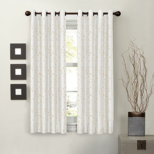 Maytex Mills Jardin Embroidered Thermal Window Curtain, 54 by 63-Inch, Natural