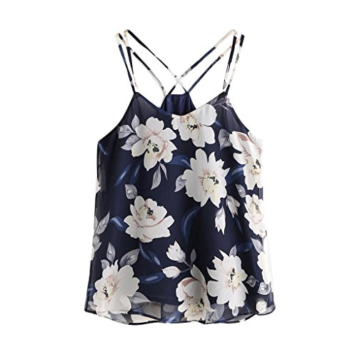 Womens Vest,Napoo Chiffon Floral Printed Halterneck Tank Crop Tops Vest Blouse Sexy Outfit (XL, Navy) (Navy Halter Top Printed)