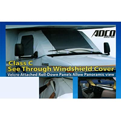 Class C RV Windshield Cover See Through Windshield Covers with Roll Down Panels (Chevys 2001 - 2008 with Special Mirror Cut Outs)