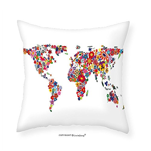 VROSELV Custom Cotton Linen Pillowcase Hippie World Map with Bunch of Flower Petalssence Fragrance Garden Growth Atlas Image for Bedroom Living Room Dorm Multicolor - Gardens Victoria Map Stores