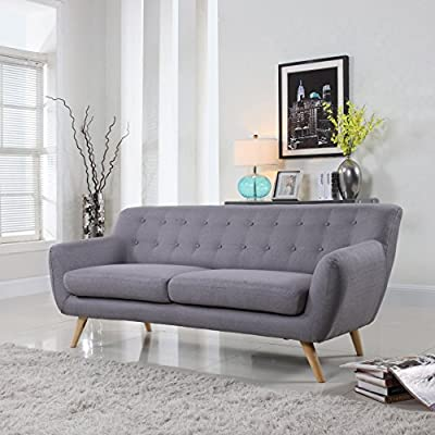 Mid Century Modern Style Sofa / Love Seat Red, Grey, Yellow, Blue - 2 Seat, 3 Seat (Grey w/ Assorted Colored Buttons, 3 Seater)