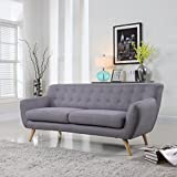 Mid-Century Modern Linen Fabric Sofa, Loveseat in Colors Light Grey, Polo Blue, Sky blue, Yellow and Red (Light Grey, 3 Seater)