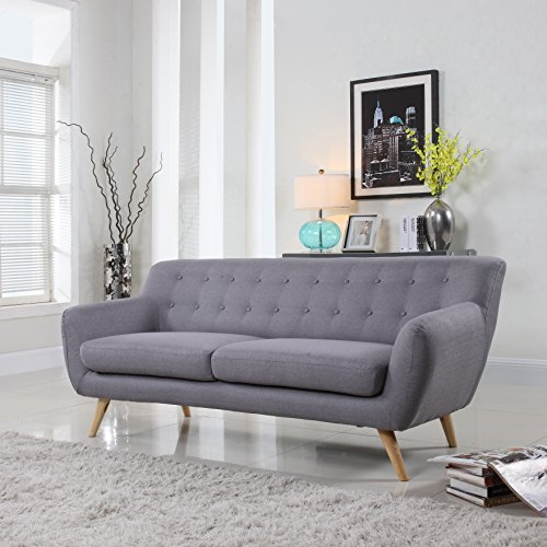 Fabric Furniture: Amazon.com: Mid-Century Modern Linen Fabric Sofa, Loveseat