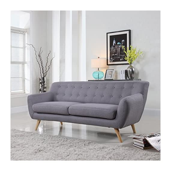 Mid-Century Modern Linen Fabric Sofa, Loveseat in Colors Light Grey, Polo Blue, Sky Blue, Yellow and Red (Light Grey, 3 Seater) - Mid century style sofa in various vibrant colors to give any living room, office or play room a splash of color and modernism Hardwood frame with soft linen tufted upholstery Easy to assemble, just screw in the legs and you're done! - sofas-couches, living-room-furniture, living-room - 51n76hfaFoL. SS570  -