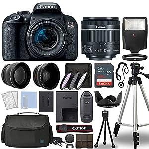 Canon 800D / Rebel T7i DSLR + 18-55mm is STM 3 Lens + 64GB Top Value Bundle – Telephoto Lens + Wide Angle Lens + 3 Piece…
