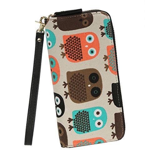 Fashion Owl Purse Canvas Zipper Clutch Wallet Phone Card Checkbook - Wallet Zipper Clutch