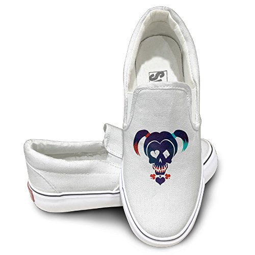 [Deamoon Suicide Squad Harley Athletic Unisex Flat Canvas Shoes Sneaker White 40] (Harley Quinn Smith Costume)