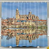 Wons Architecture Building Old Building Town House Spain Cathedral Water Lake Reflection Trees Clouds Tower Funny Bathroom Curtains 6072inch