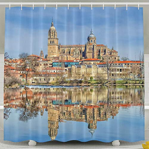 Wons Architecture Building Old Building Town House Spain Cathedral Water Lake Reflection Trees Clouds Tower Funny Bathroom Curtains 6072inch by Wons