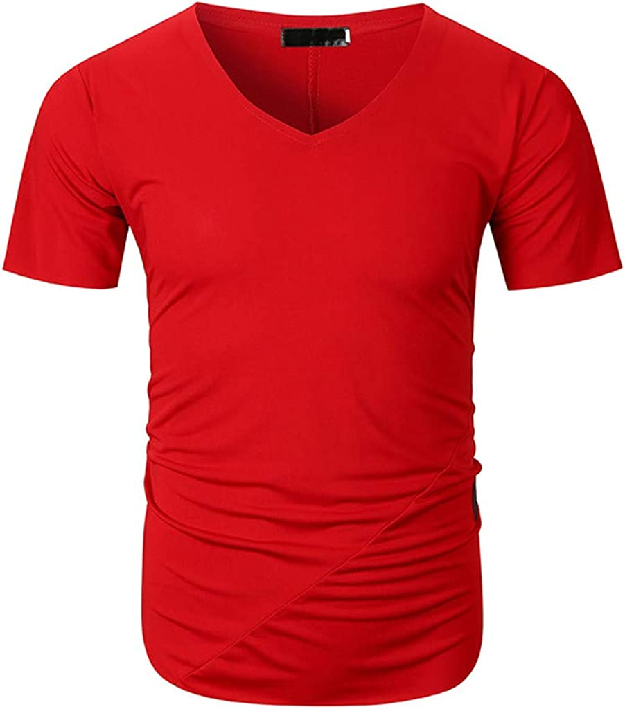 USStore Mens T-Shirt Short Sleeve Normal Essential Fashion Summer Casual V-Neck Muscle Slim Handsome Sports Simple Top