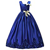HUANQIUE Girls Pageant Wedding Dresses Party Flower Girl Embroidered Gowns Blue 3-4T