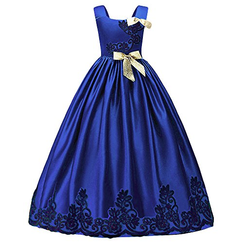 HUANQIUE Girls Pageant Wedding Dresses Party Flower Girl Embroidered Gowns Blue 7-8T