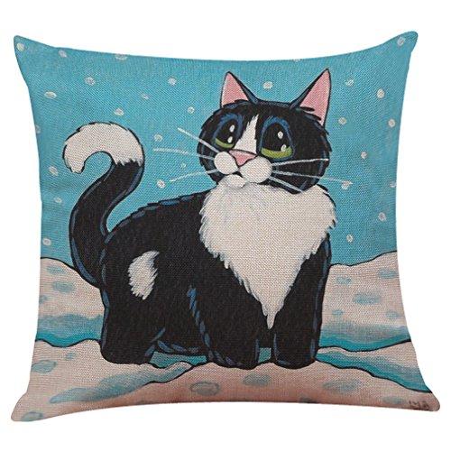 (Littay Pillowcase 17inch x 17inch,Cute Cat Sofa Bed Home Decoration Festival Pillow Case Cushion)