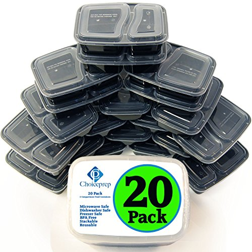 ChoicePrep Meal Prep Containers (BULK 20 PACK - 100% BPA FREE) 2 Food Compartment Bento Box for Lunch, Dinner, or Breakfast - Microwave & Dishwasher Safe - Completely Reusable & Stackable