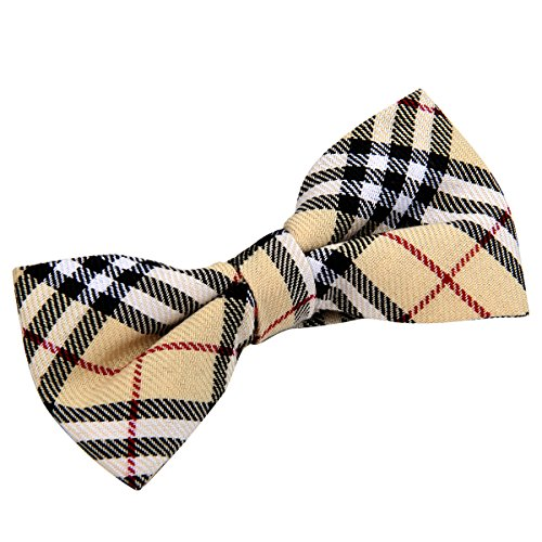 JewelryWe Mens Fashion Pre-Tied Cotton Plaid Neck Bowtie Bow Tie Many Styles Available (Style (Plaid Mens Neck Tie)