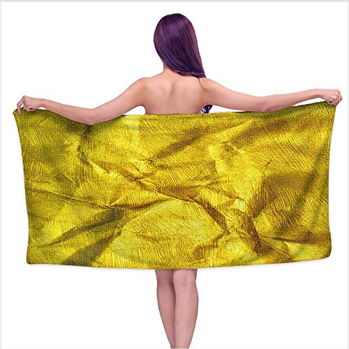 Leigh home Microfiber Beach Towels, Luxury Golden Texture.Hi res Background,Quick Dry Super Absorbent Lightweight Towel for Swimmers W 20