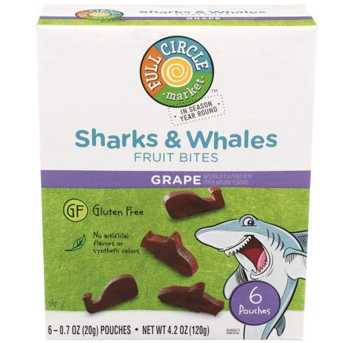 Full Circle, Sharks & Whales Fruit Bites, Real Fruit Snacks, Grape (Pack of 14)