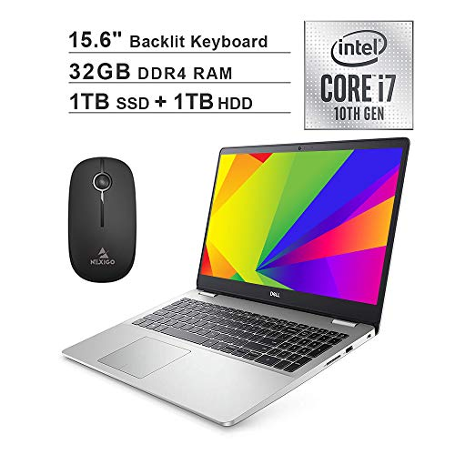 2020 Dell Inspiron 15 5593 15.6 Inch FHD 1080P Laptop (Intel Core i7-1065G7 up to 3.9GHz, 32GB RAM, 1TB SSD (Boot) + 1TB HDD, Backlit KB, FP Reader, Win10)