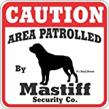 Dog Yard Sign ''Caution Area Patrolled By Mastiff Security Company''