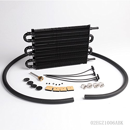 Gplusmotor 6 Row Radiator Remote Aluminum Transmission Oil Cooler + Hose/Mounting Kit (Remote Transmission)