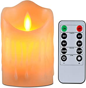 "Flameless Candles with 10 Key Remote Timer Flickering Tear Wave Shaped Tealight Real Wax Simulate Dripping led Candles Battery Operated Safe for Indoor Outdoor Decor (3""x3.5"")"