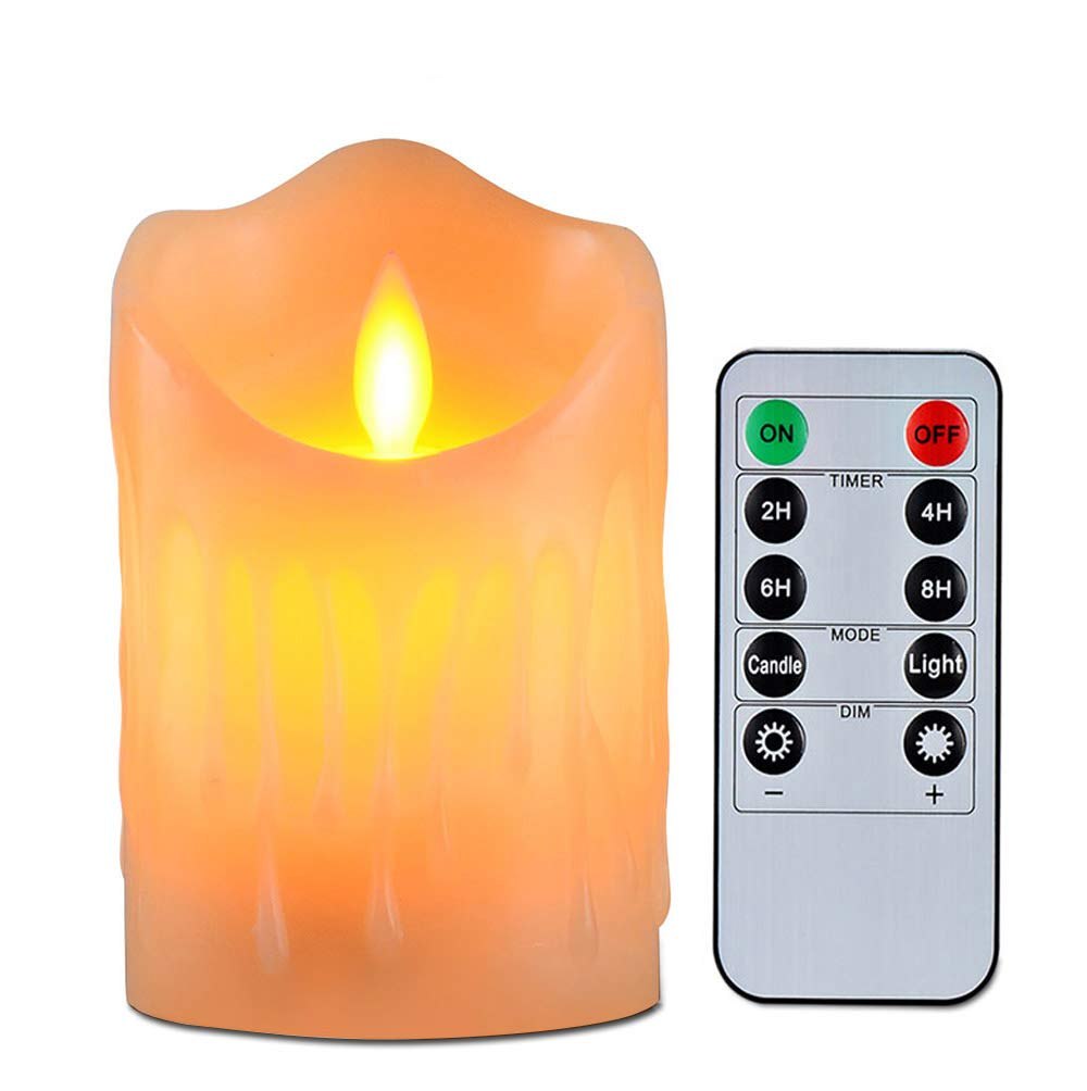 Flameless Candles with 10 Key Remote Timer Flickering Tear Wave Shaped Tealight Size 3 4 5 6 7 8 Real Wax Simulate Dripping led Candles Battery Operated Safe for Indoor Outdoor Decor 3x3.4